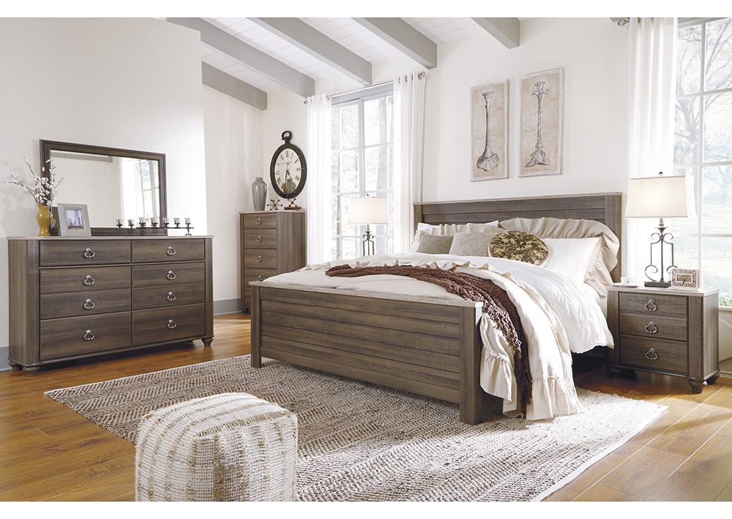 Birmington Brown California King Panel Bed w/Dresser, Mirror, Drawer Chest & Nightstand,Signature Design By Ashley