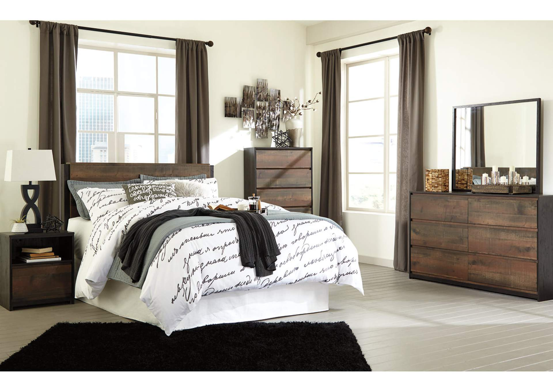 Windlore Dark Brown King Panel Bed w/Dresser, Mirror, Chest, Nightstand,Signature Design By Ashley