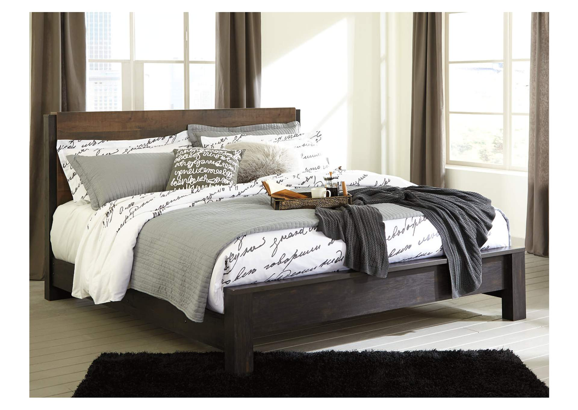 Windlore Dark Brown King Panel Bed,ABF Signature Design by Ashley