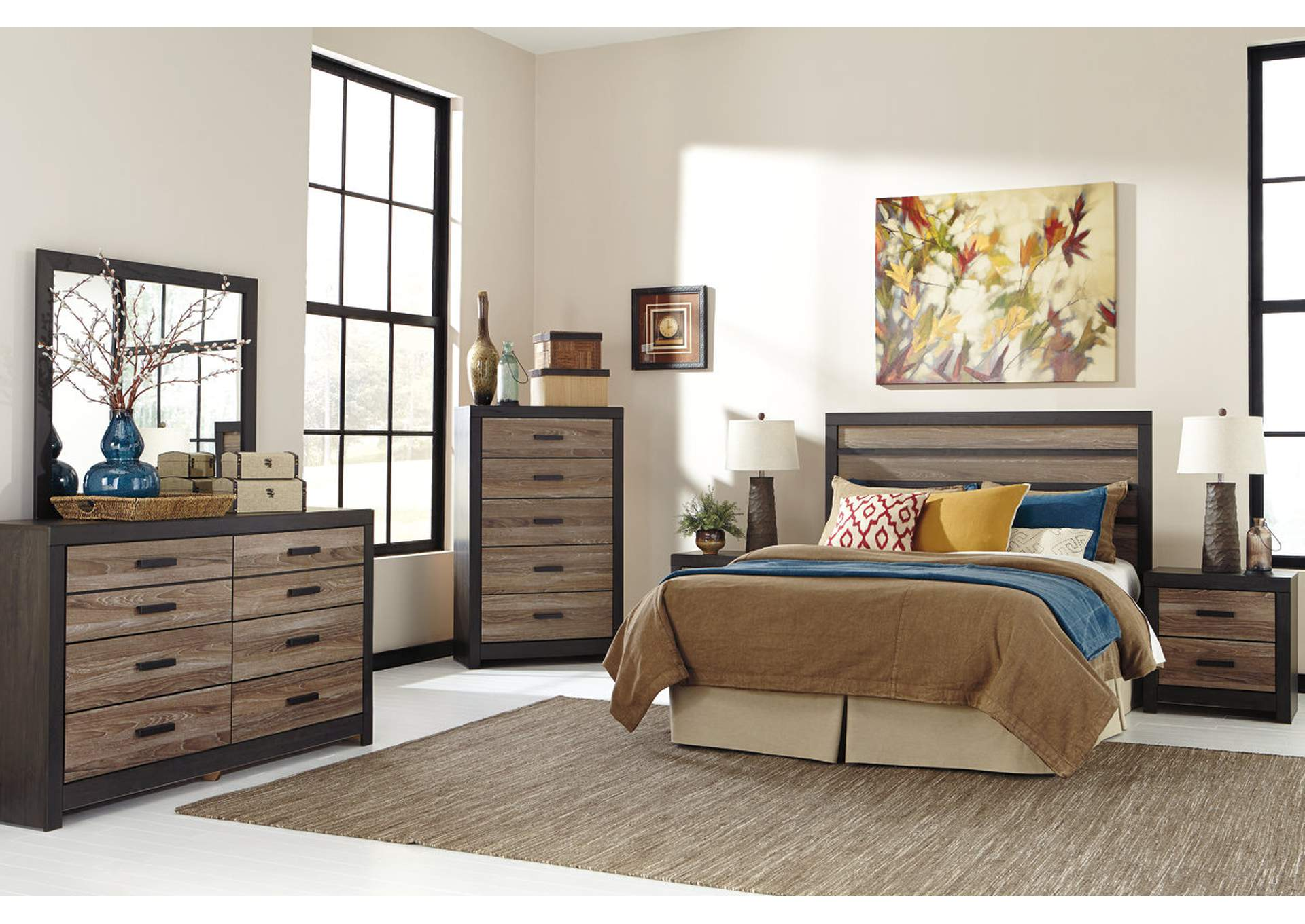 Harlinton Queen/Full Panel Headboard w/Dresser, Mirror, Drawer Chest & Nightstand,Signature Design by Ashley