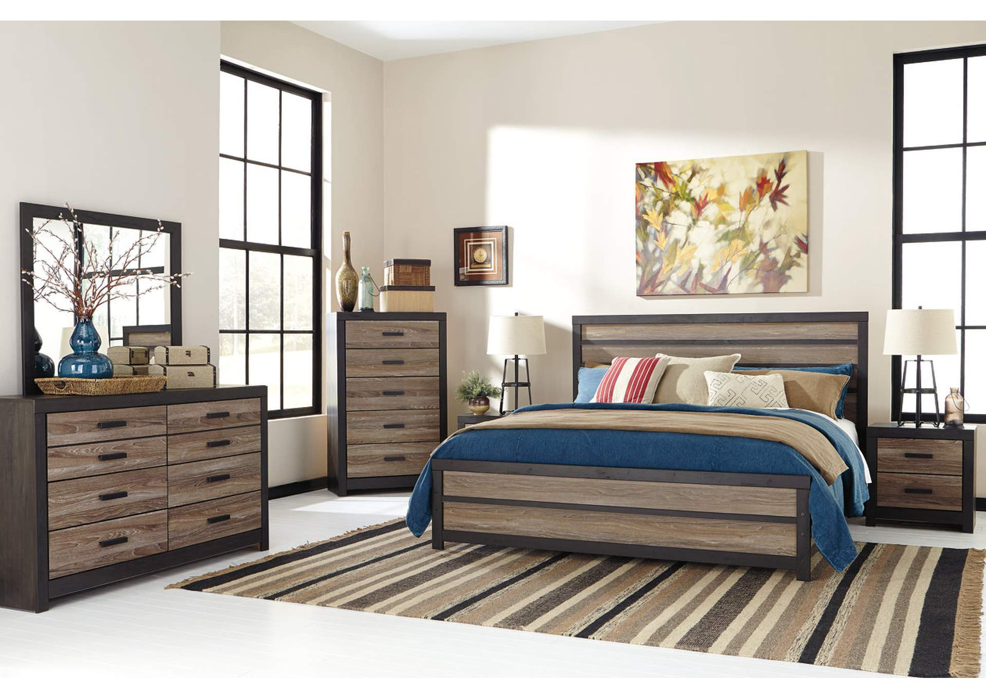 Harlinton King Panel Bed w/Dresser, Mirror & Drawer Chest,Signature Design By Ashley