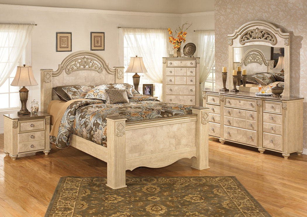 Saveaha Queen Poster Bed w/Dresser & Mirror,Signature Design by Ashley