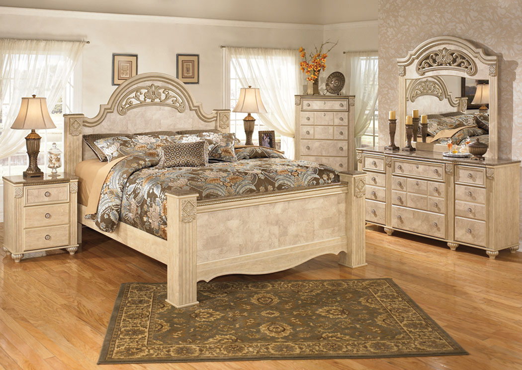 Saveaha King Poster Bed w/Dresser, Mirror & Drawer Chest,Signature Design by Ashley