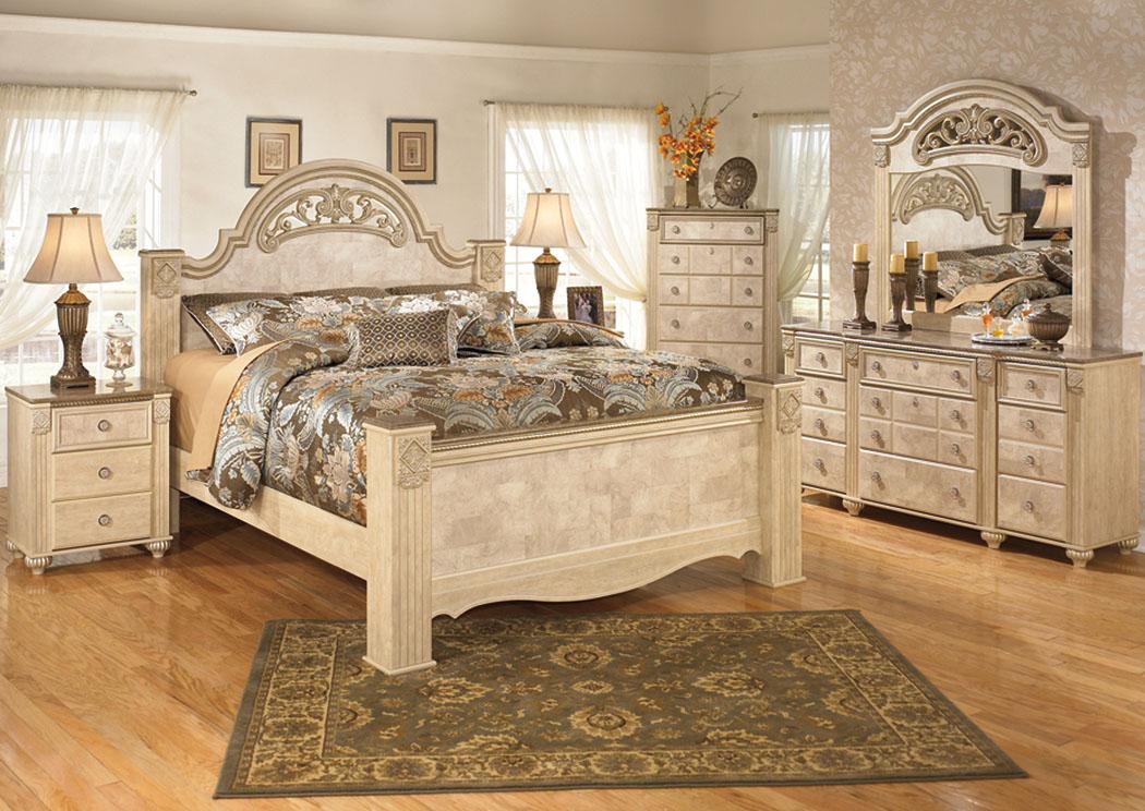Saveaha king poster bed w dresser mirror affordable for Affordable furniture nj