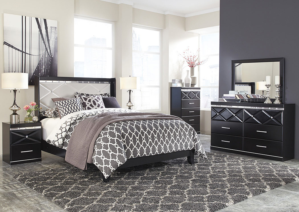 Fancee Queen Panel Bed w/Dresser, Mirror, Drawer Chest & Nightstand,Signature Design By Ashley