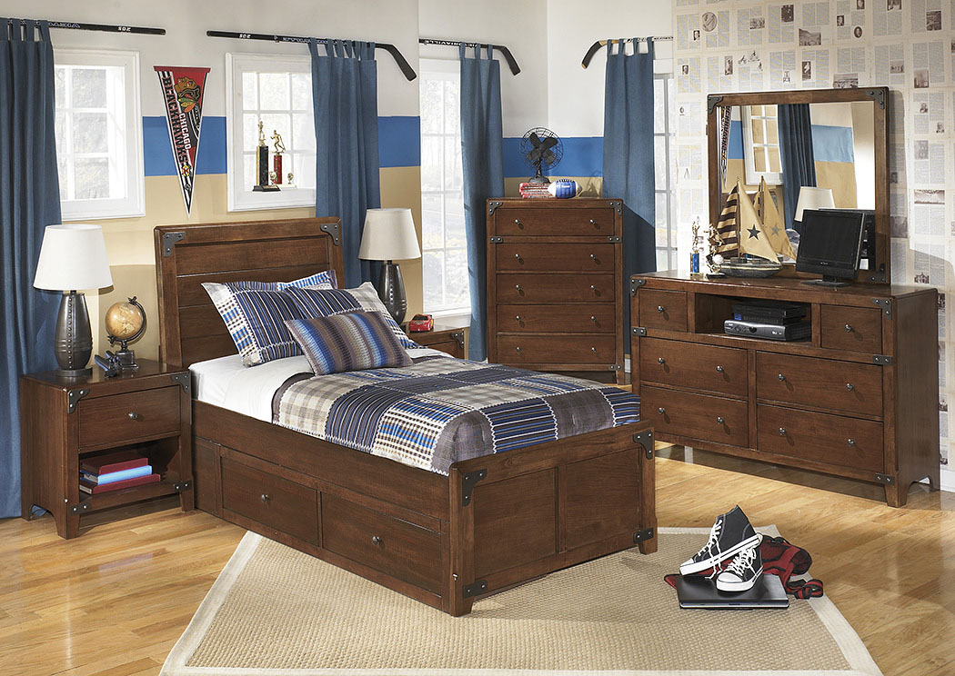 Delburne Twin Storage Bed w/Dresser, Mirror & Chest,Signature Design By Ashley