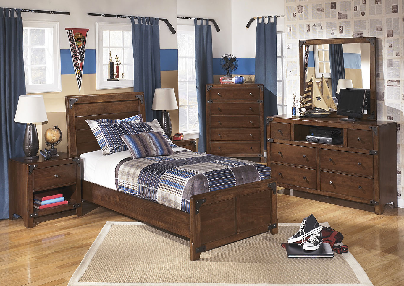 Delburne Twin Panel Bed w/Dresser, Mirror, Chest & 2 Nightstands,Signature Design By Ashley