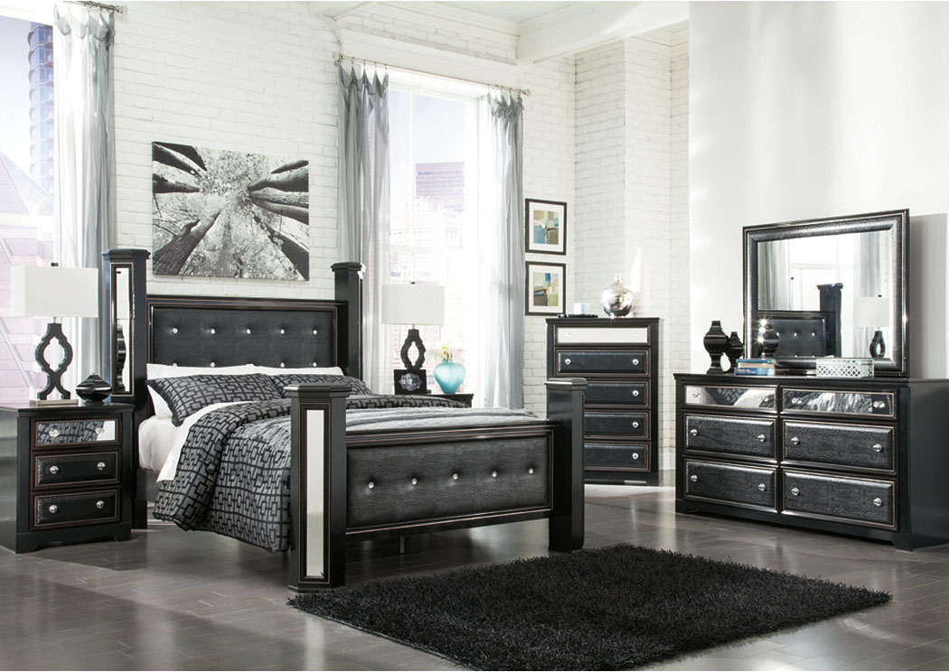 Alamadyre Queen Upholstered Poster Bed w/Dresser, Mirror & Drawer Chest,Signature Design by Ashley