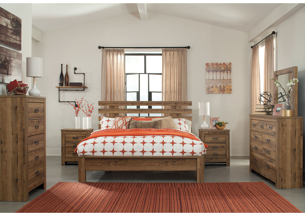 Cinrey Medium Brown King Panel Bed w/Dresser, Mirror & Drawer Chest,Signature Design By Ashley