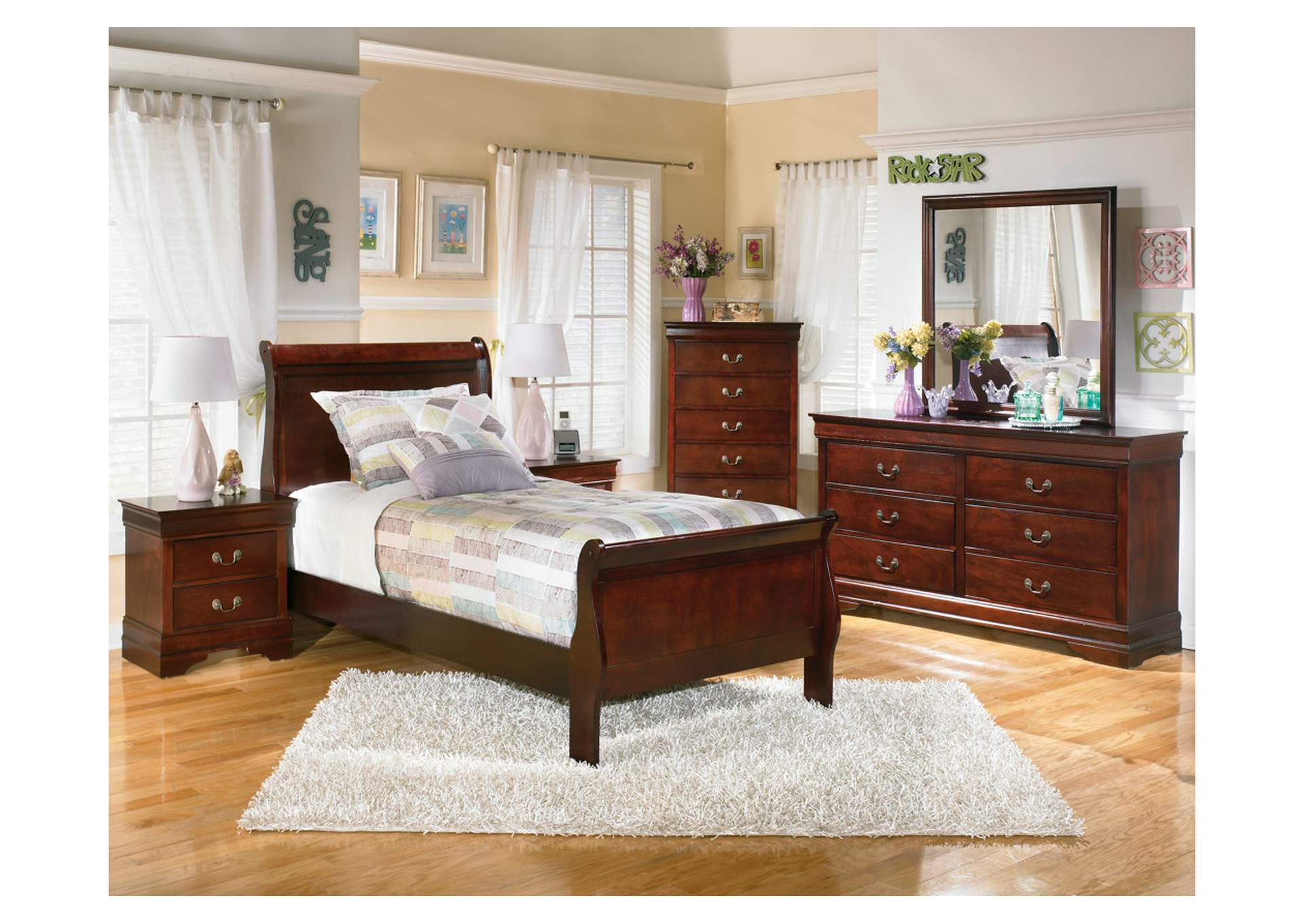 Alisdair Twin Sleigh Bed w/Dresser, Mirror, Drawer Chest & 2 Nightstands,Signature Design By Ashley