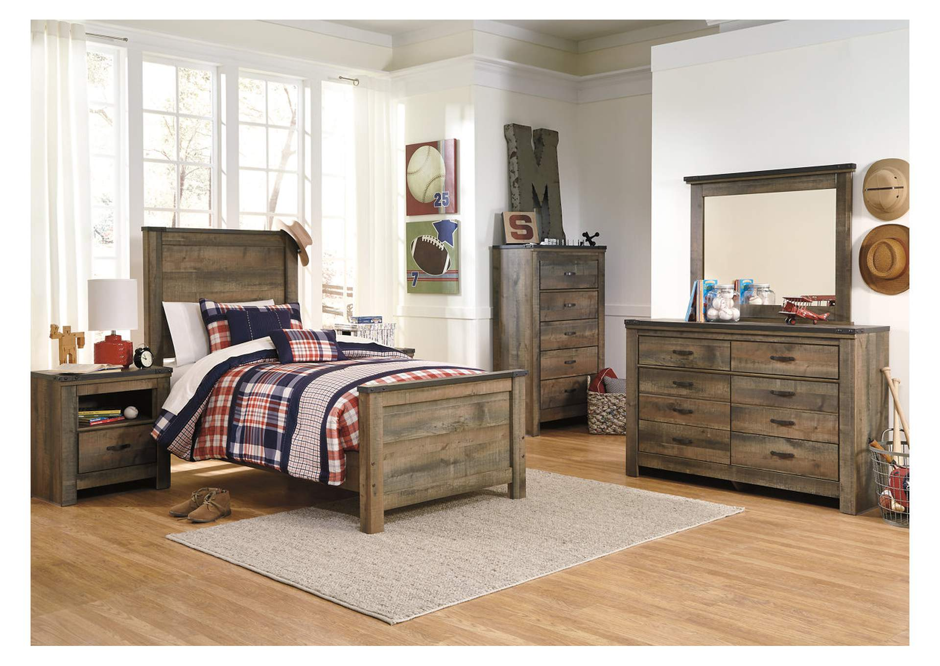 Trinell Brown Twin Panel Bed w/Dresser, Mirror, Drawer Chest & Nightstand,Signature Design By Ashley