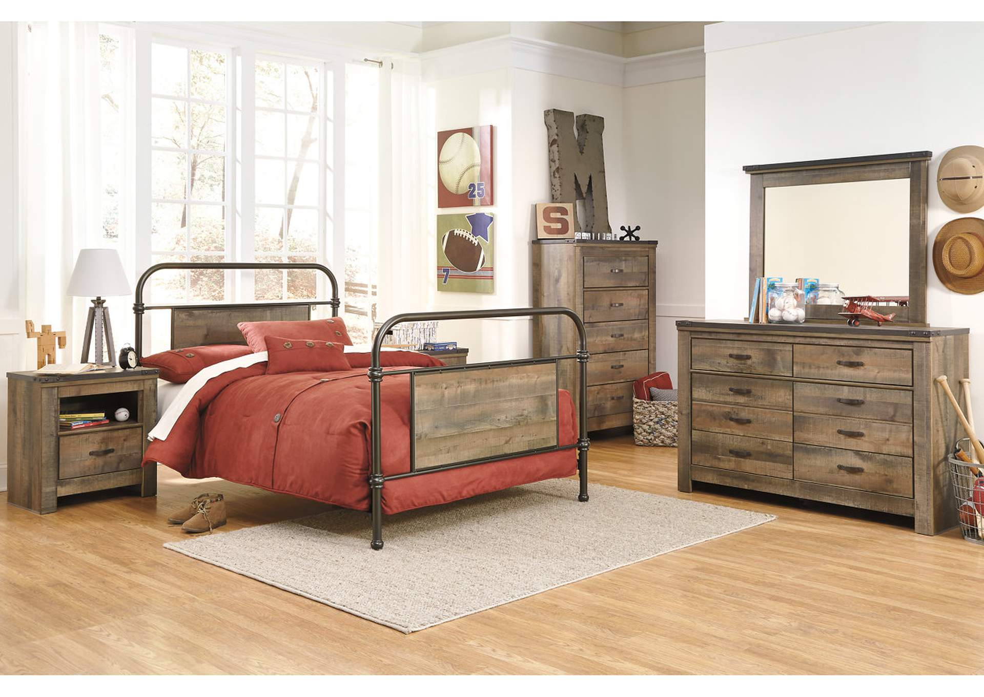 Trinell Brown Full Metal Bed w/Dresser, Mirror, Drawer Chest & Nightstand,Signature Design By Ashley