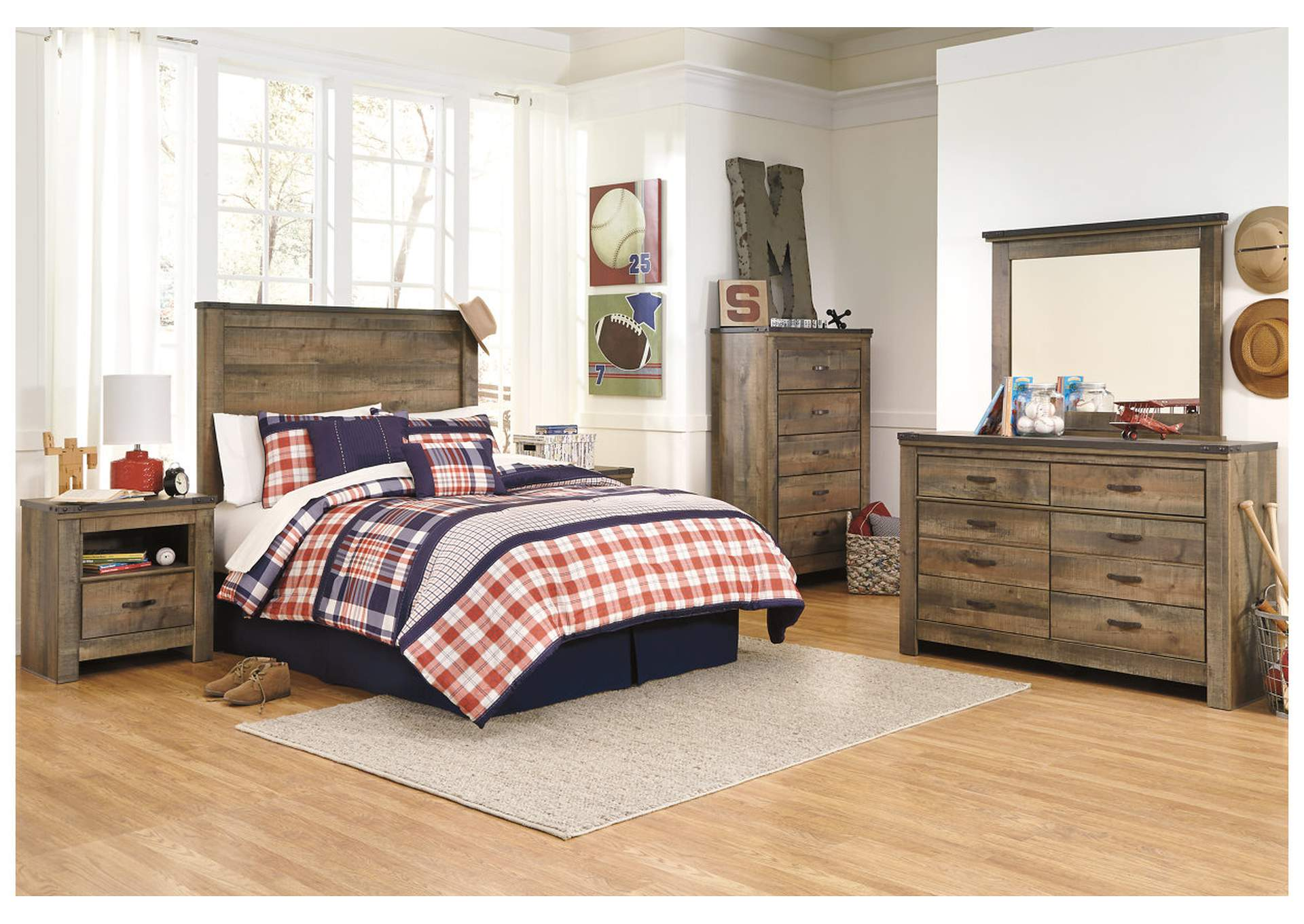 Trinell Brown Twin Panel Headboard w/Dresser, Mirror & Drawer Chest,Signature Design By Ashley
