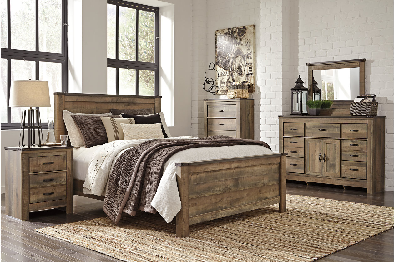 Trinell Queen Panel Bed w/Dresser, Mirror, Five Drawer Chest and Nightstand,Signature Design By Ashley