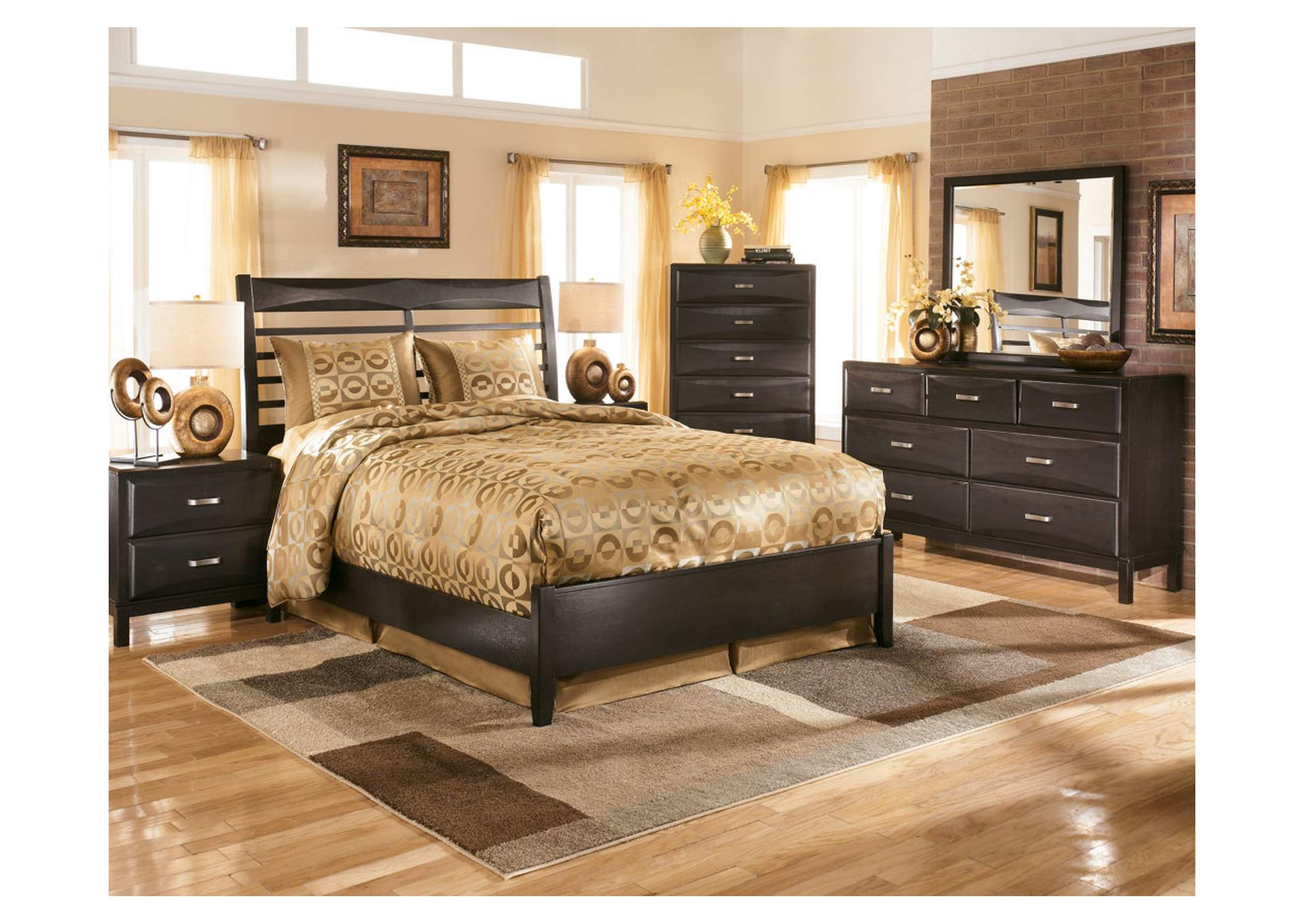Kira Black Queen Panel Bed w/Dresser, Mirror & Drawer Chest,Ashley