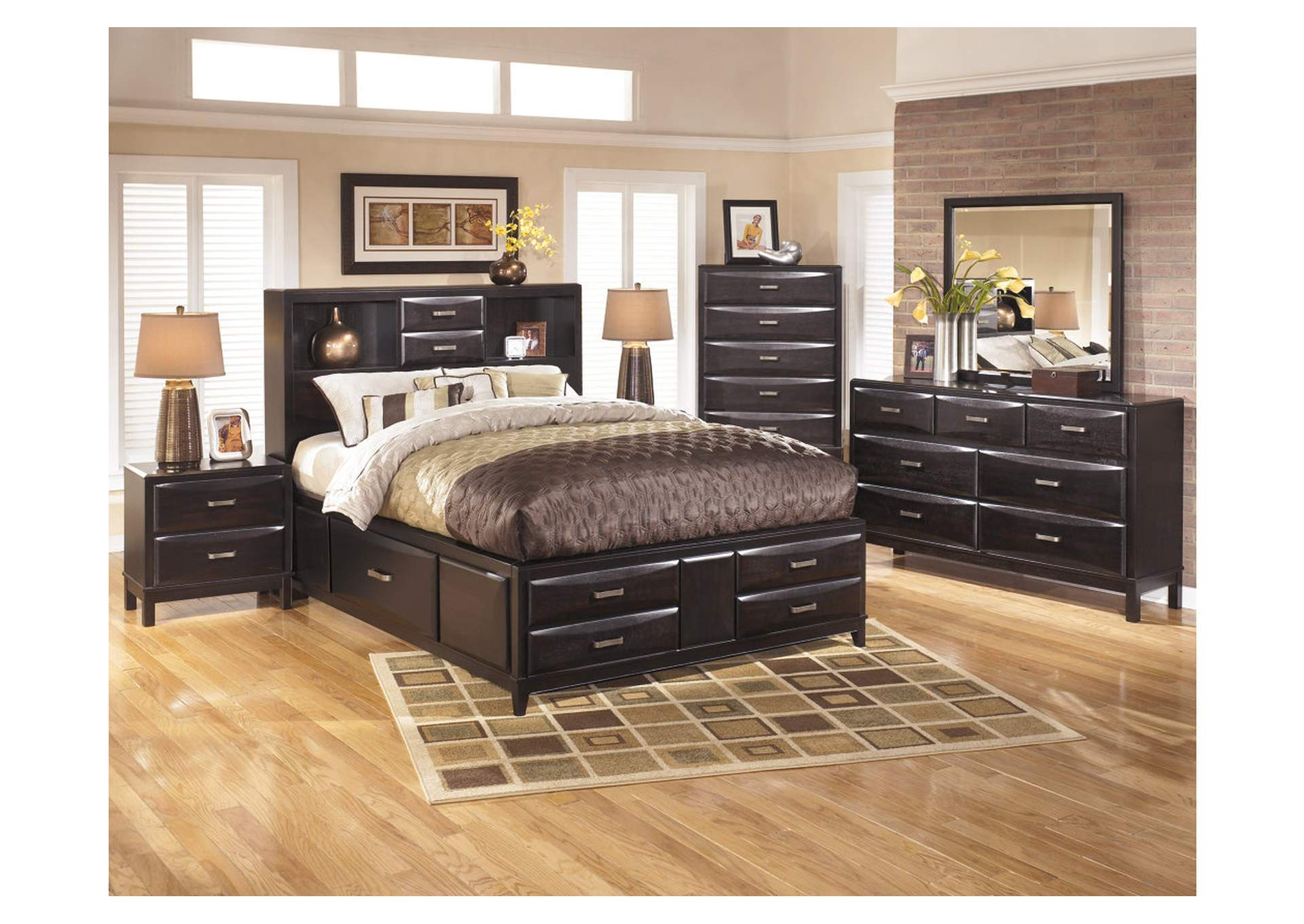 Kira Black California King Storage Bed w/Dresser, Mirror, Drawer Chest & Nightstand,Ashley