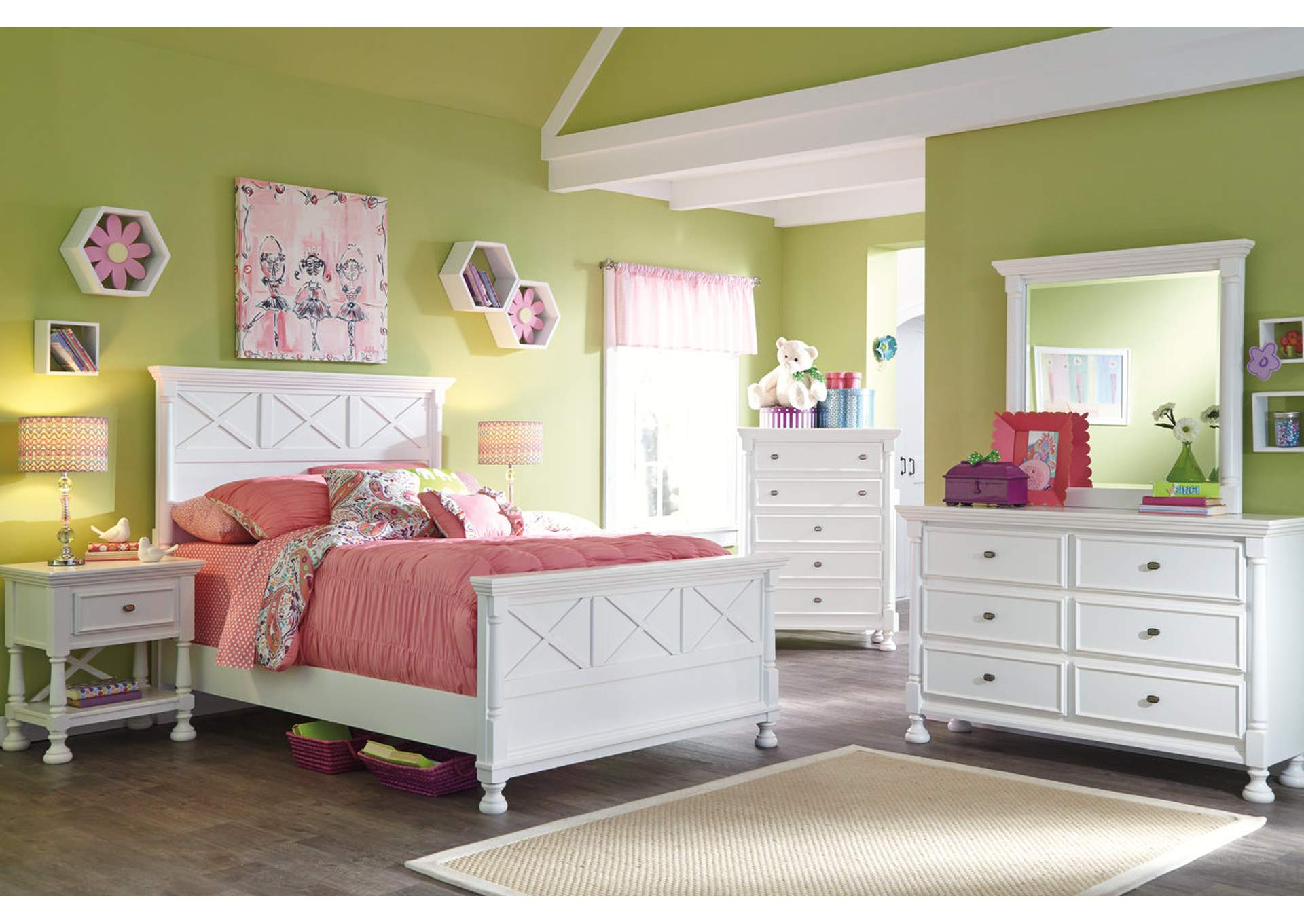 Kaslyn Queen Panel Bed w/Dresser, Mirror, Chest & Nightstand,Signature Design By Ashley