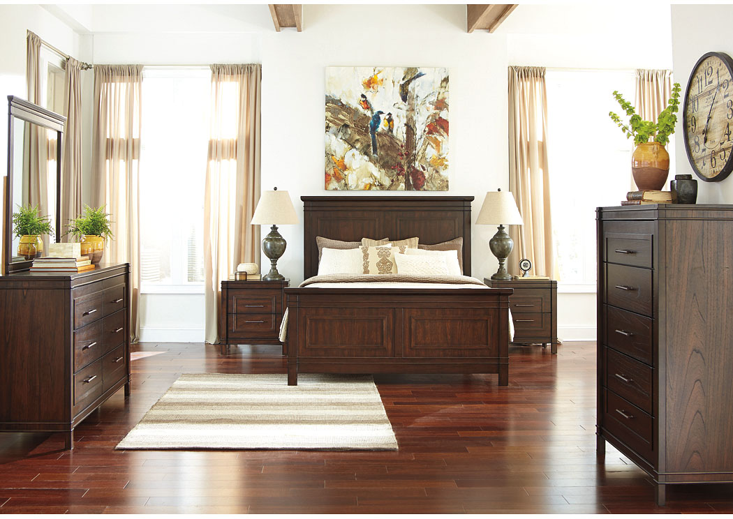 Timbol Warm Brown Queen Panel Bed w/Dresser, Mirror, Drawer Chest & Nightstand,Signature Design by Ashley