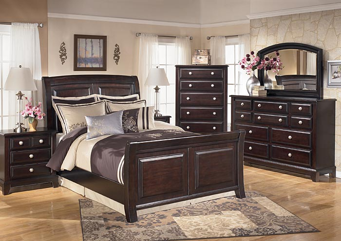 Ridgley Queen Sleigh Bed w/Dresser, Mirror, Drawer Chest & Nightstand,Signature Design By Ashley