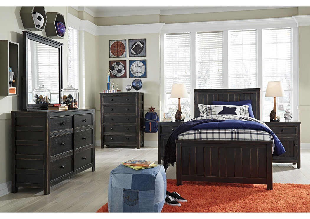 Jaysom Black Twin Panel Bed w/Dresser, Mirror, Drawer Chest & Nightstand,Signature Design By Ashley