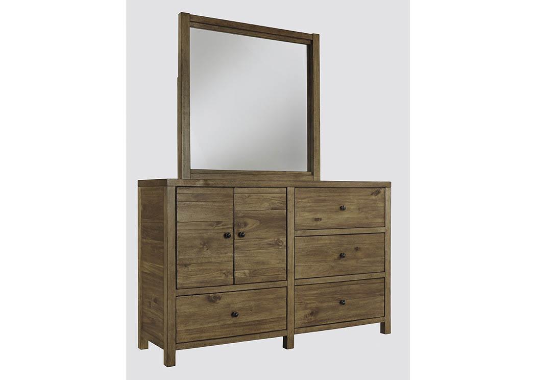 North Charleston Mount Pleasant Fennison Light Brown Bedroom Mirror