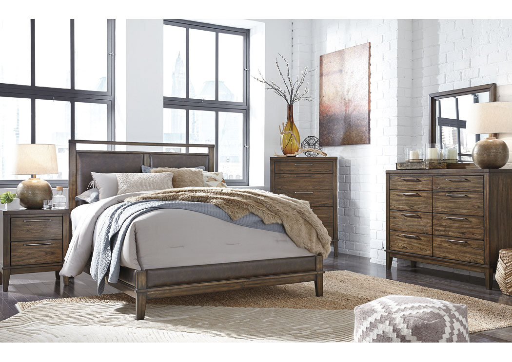 Zilmar Walnut Brown Queen Upholstered Bed w/Dresser & Mirror,Signature Design By Ashley