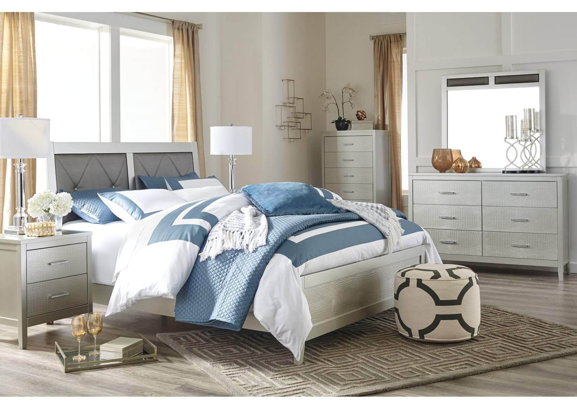 Olivet Silver California King Upholstered Panel Bed w/Dresser, Mirror & Drawer Chest,Signature Design by Ashley