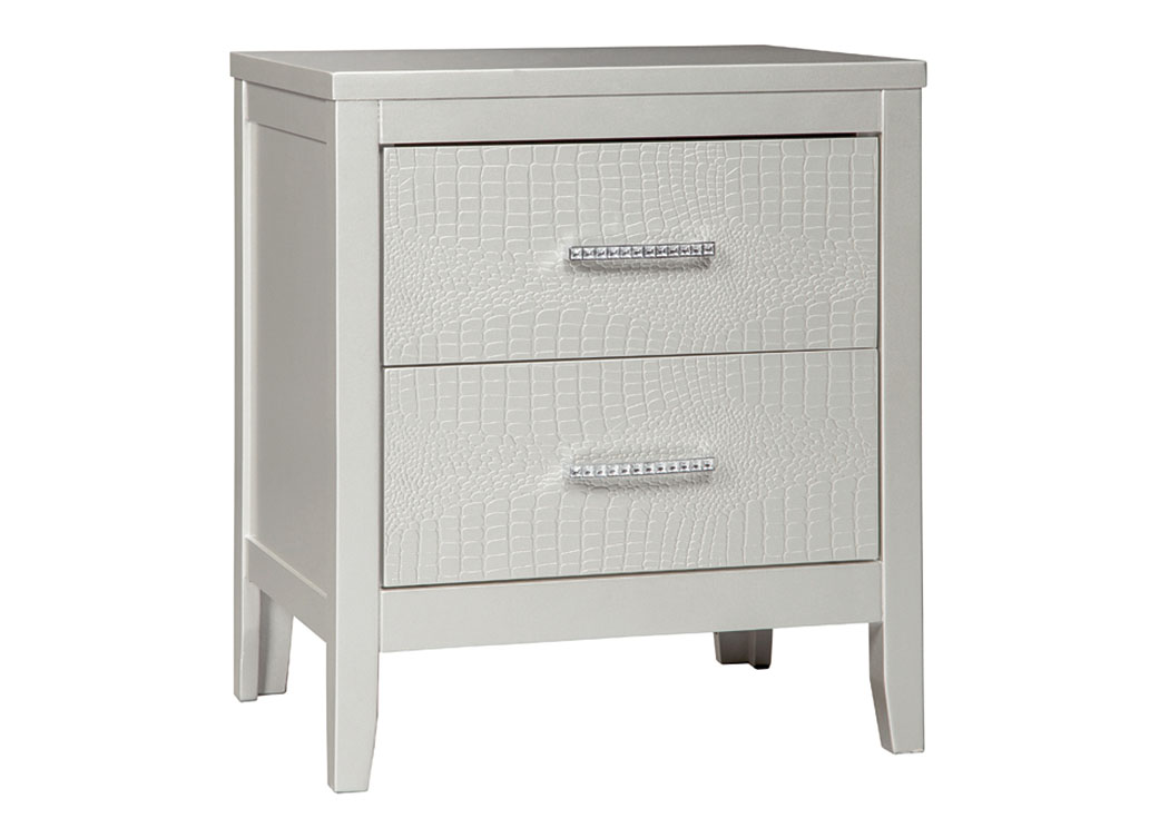 Olivet Silver Two Drawer Nightstand,Signature Design By Ashley