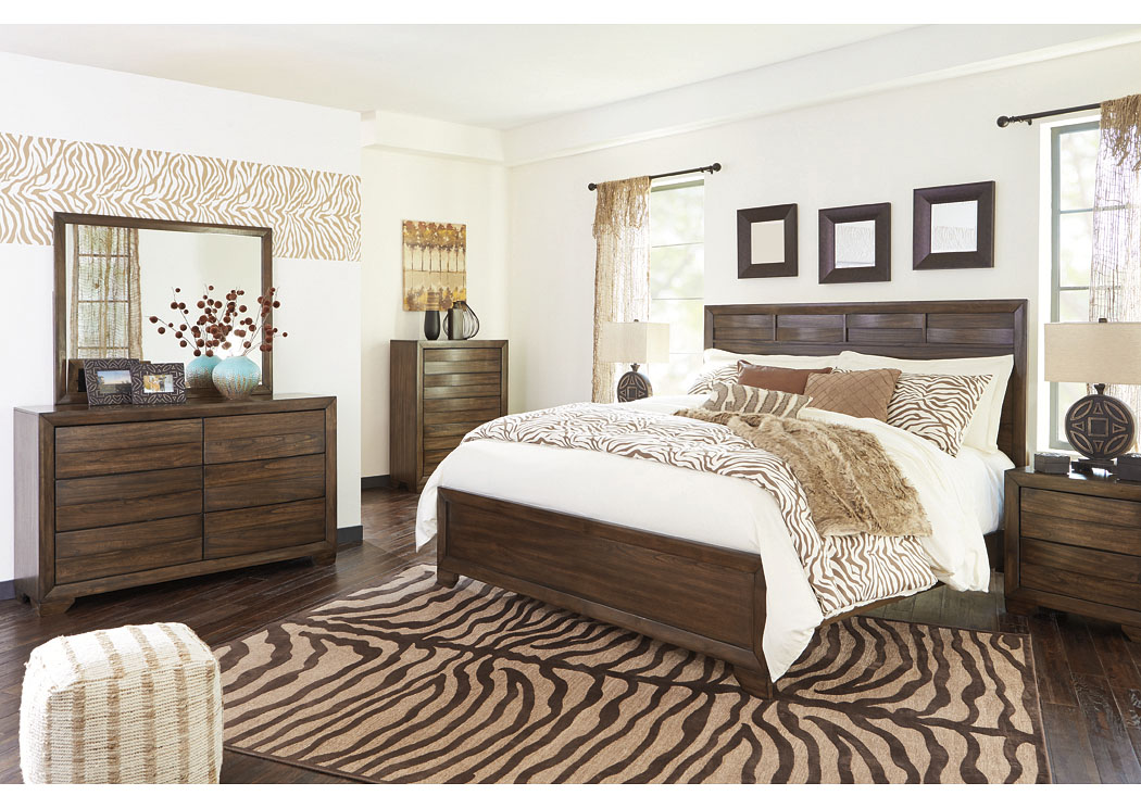 Mydarosa Brown California King Panel Bed w/Dresser, Mirror, Drawer Chest and Nightstand,Signature Design by Ashley