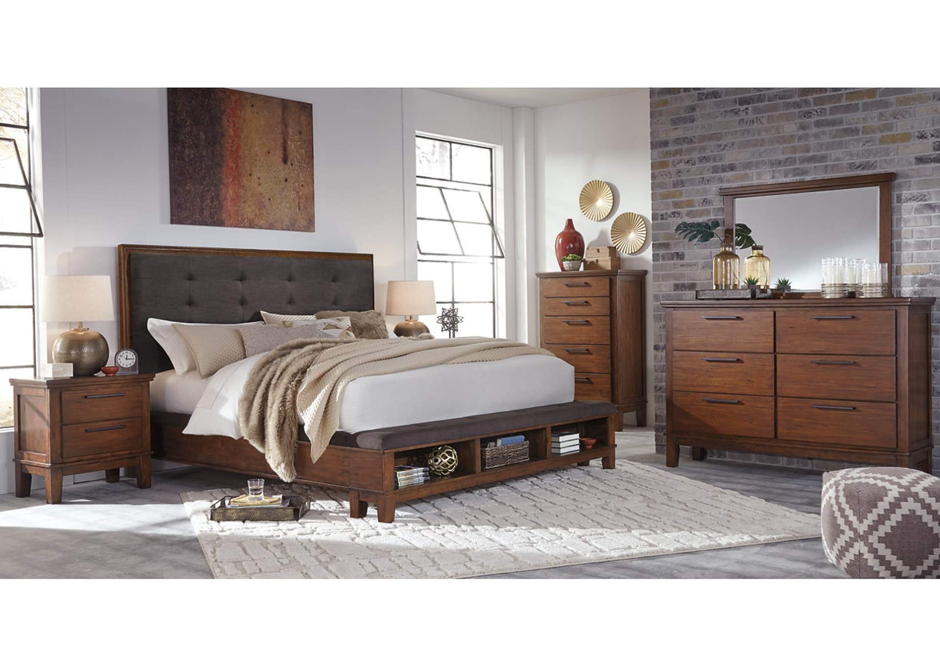Ralene Medium Brown King Upholstered Storage Bed w/Dresser, Mirror, Drawer Chest & Nightstand,Signature Design By Ashley