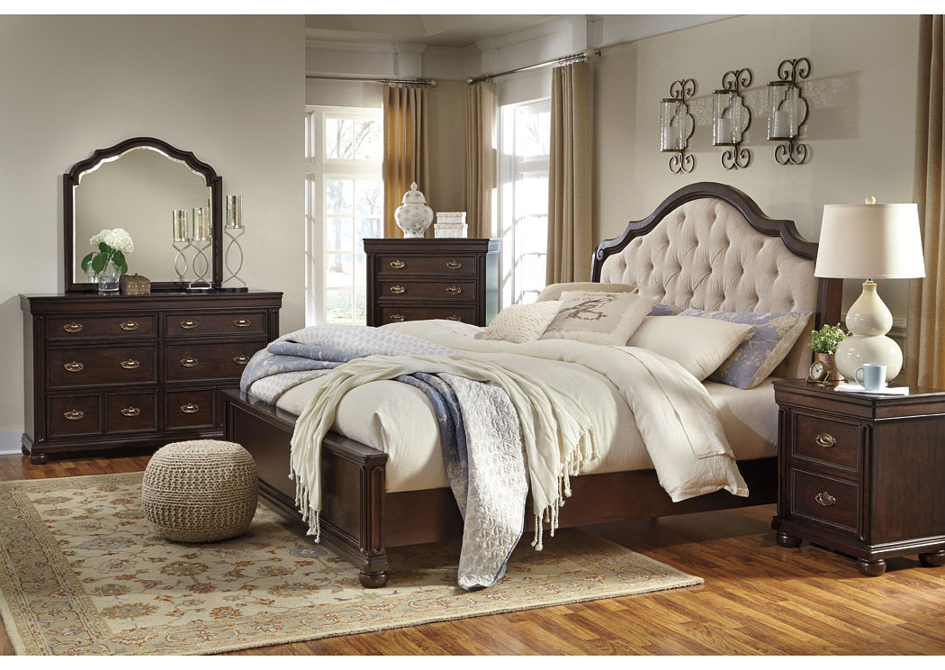 moluxy dark brown queen upholstered sleigh bed wdresser u0026 design by - Upholstered Sleigh Bed