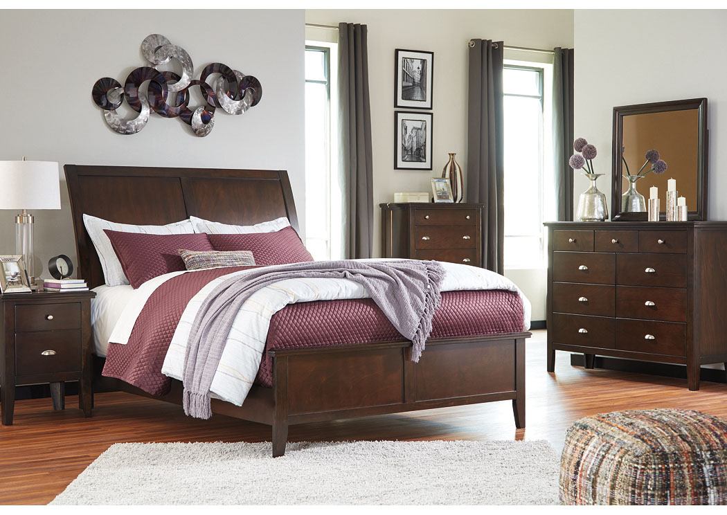 Evanburg Brown Queen Sleigh Bed w/Dresser, Mirror, Drawer Chest & Nightstand,Signature Design By Ashley