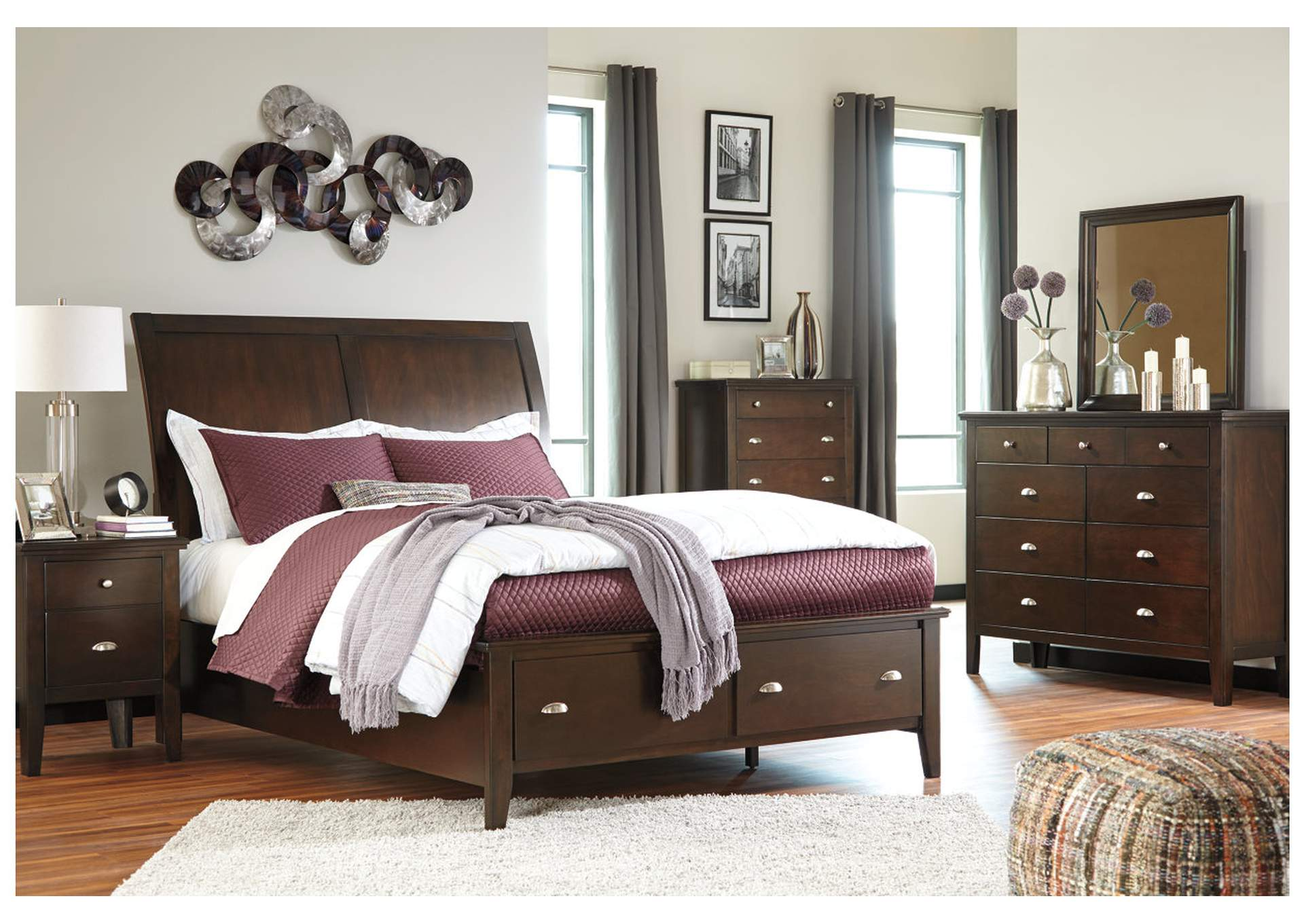 Evanburg Brown California King Sleigh Storage Bed w/Dresser, Mirror, Drawer Chest & Nightstand,Signature Design By Ashley