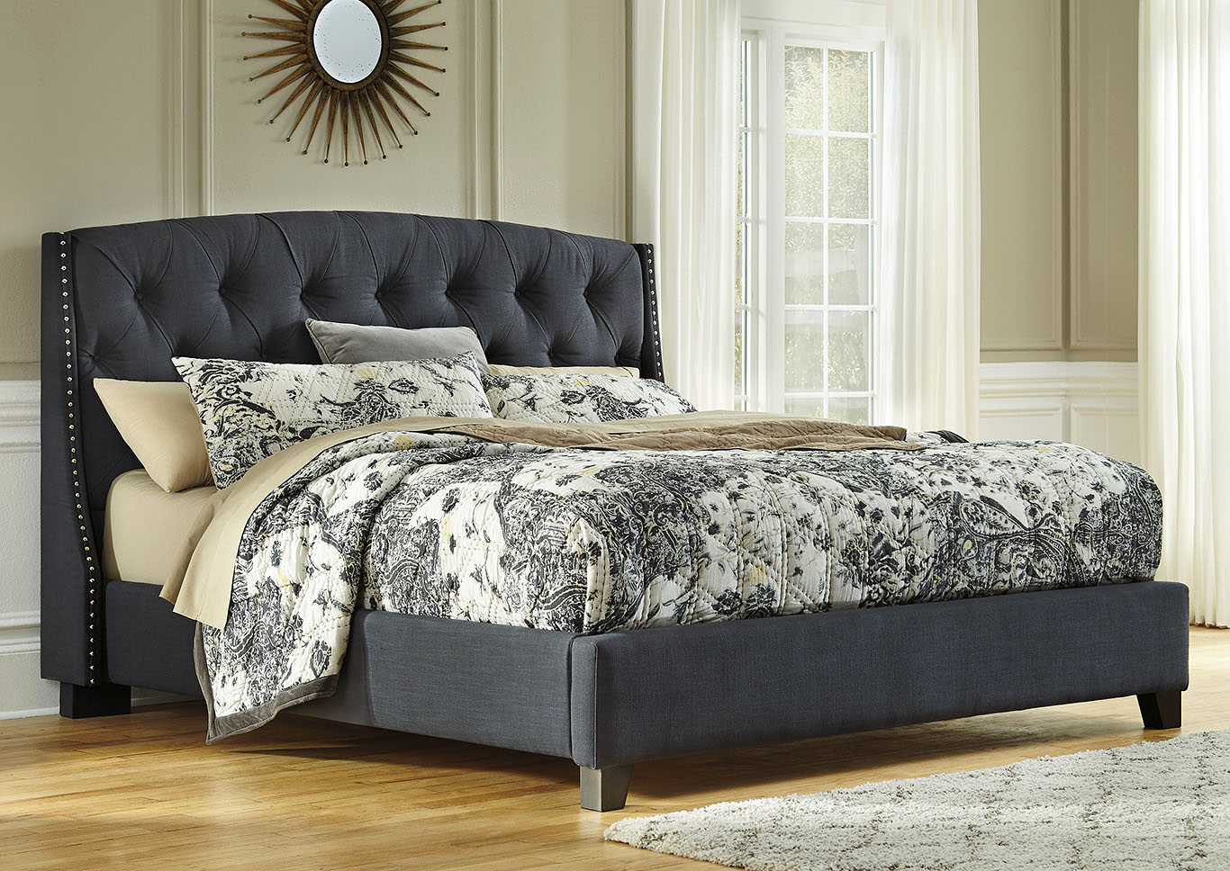 Kasidon Dark Gray King Upholstered Bed,Signature Design by Ashley