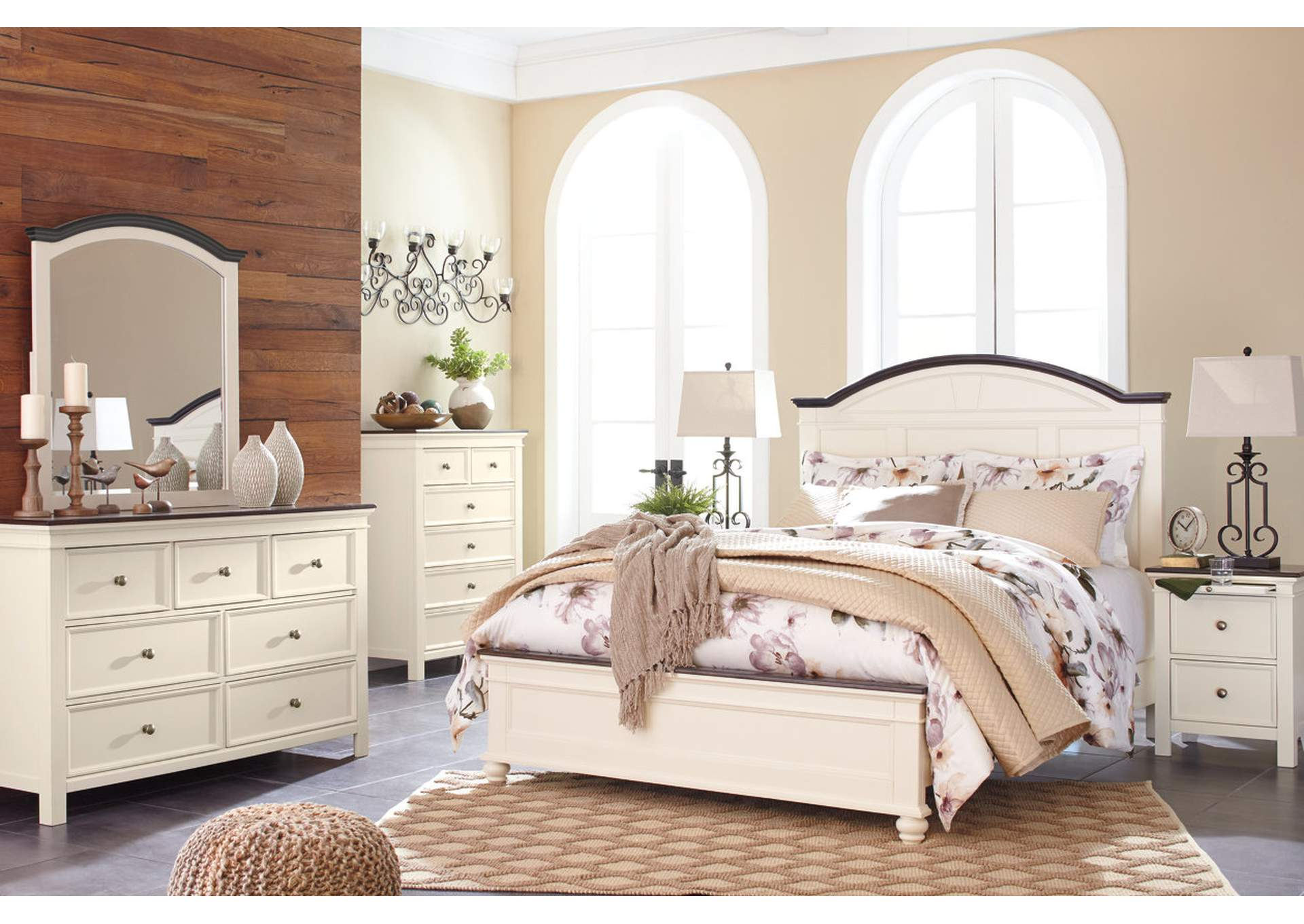 Woodanville White/Brown Queen Panel Bed w/Dresser, Mirror & Nightstand,Signature Design By Ashley