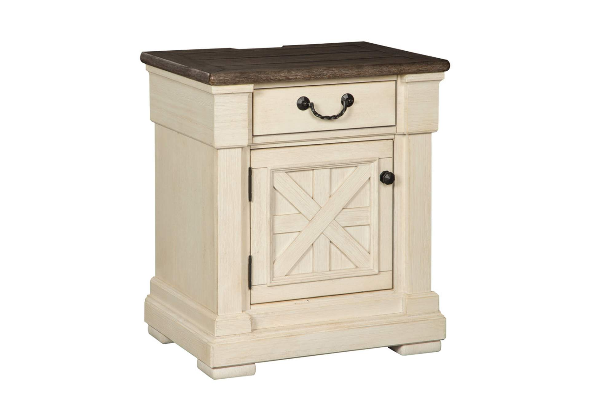 crawford's furniture bolanburg antique white 1 drawer nightstand