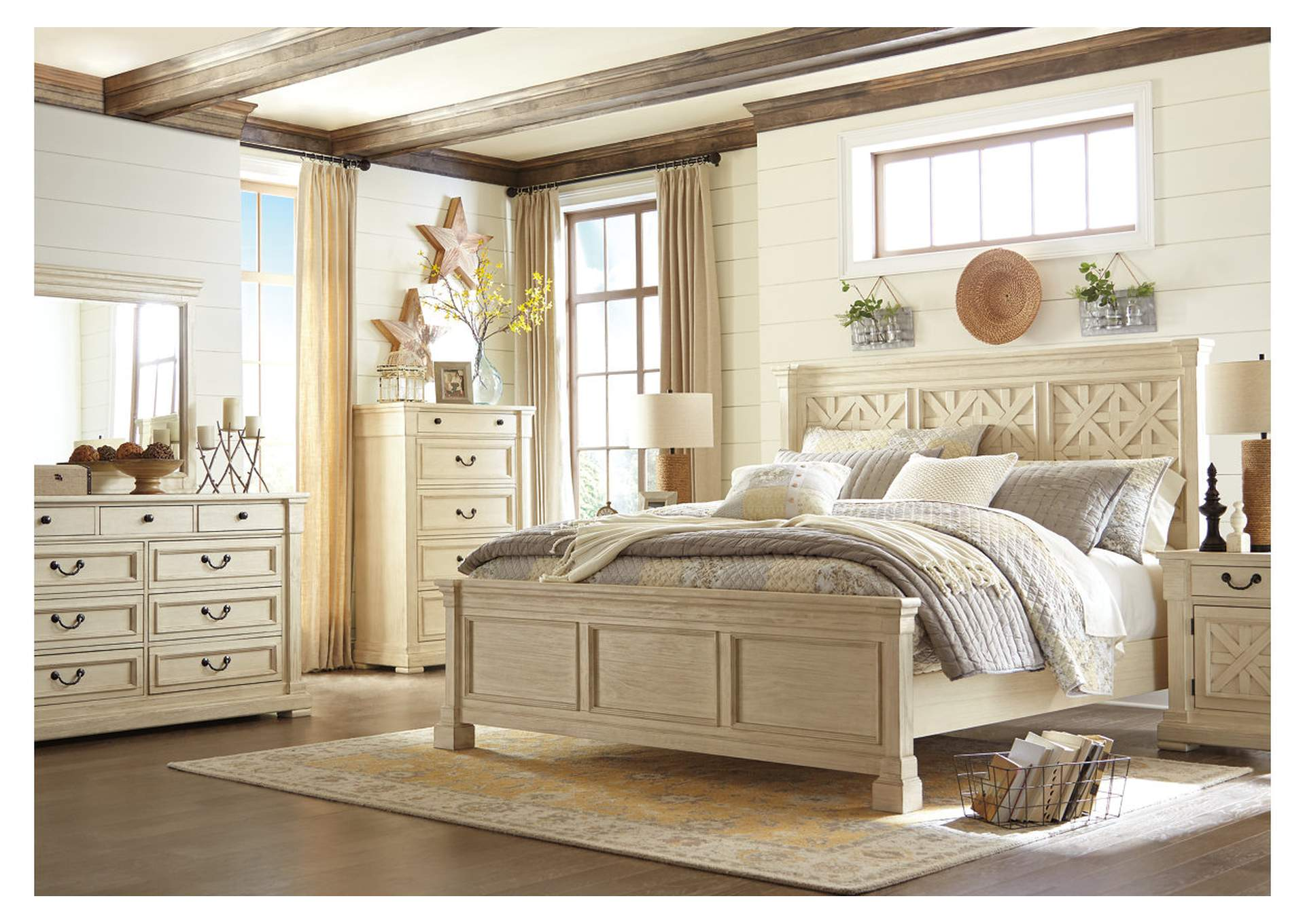 Bolanburg White California King Panel Bed w/Dresser, Mirror & Nightstand,Signature Design By Ashley