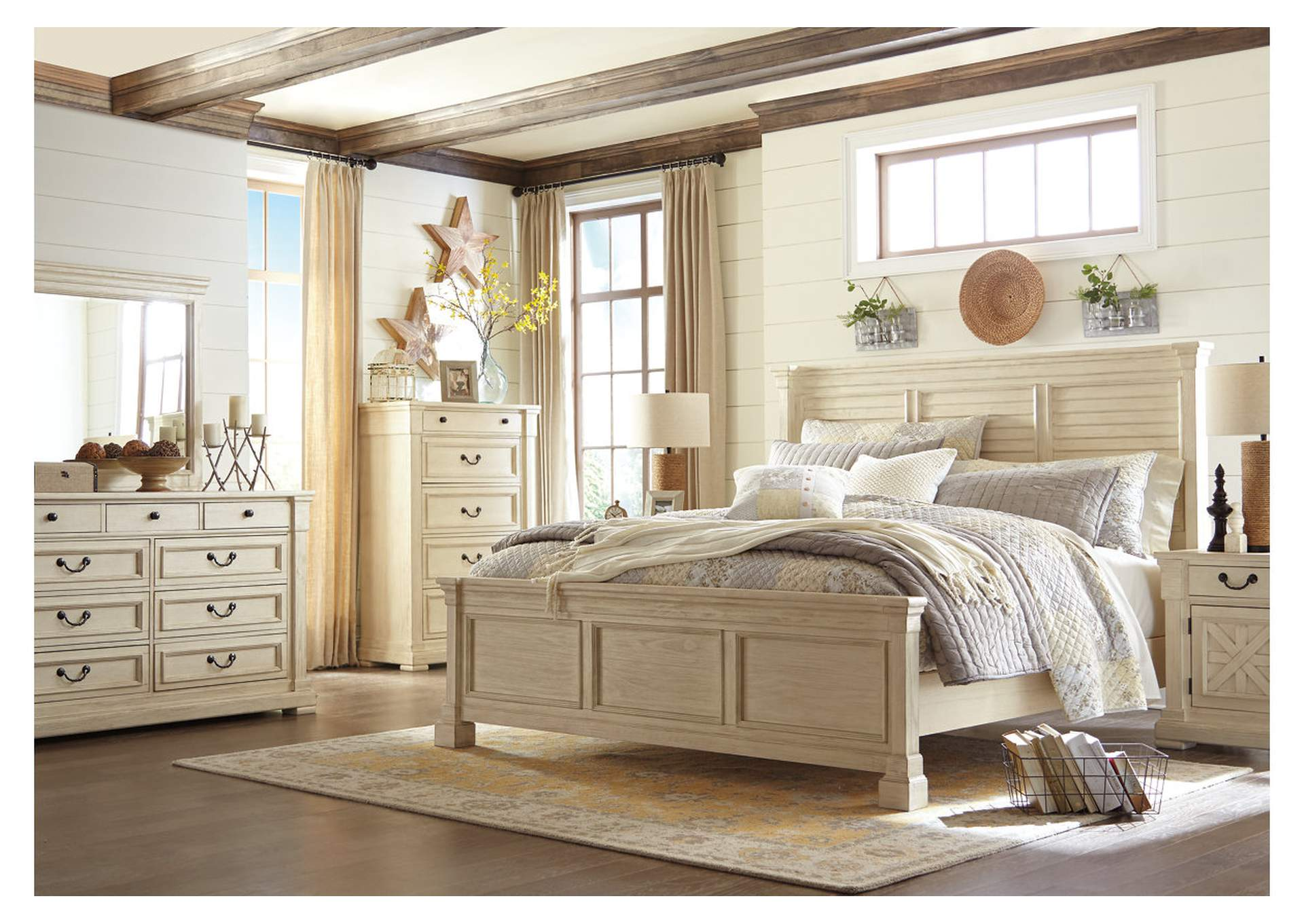 Bolanburg White California King Louvered Bed w/Dresser & Mirror,Signature Design By Ashley