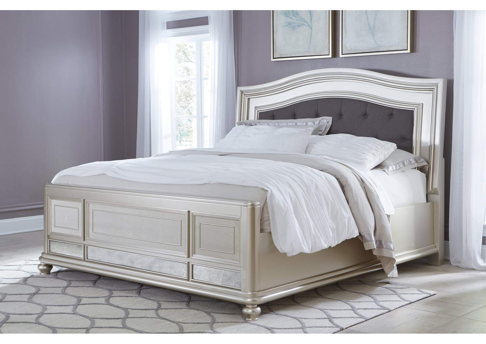 Coralayne Silver King Upholstered Bed,Signature Design By Ashley