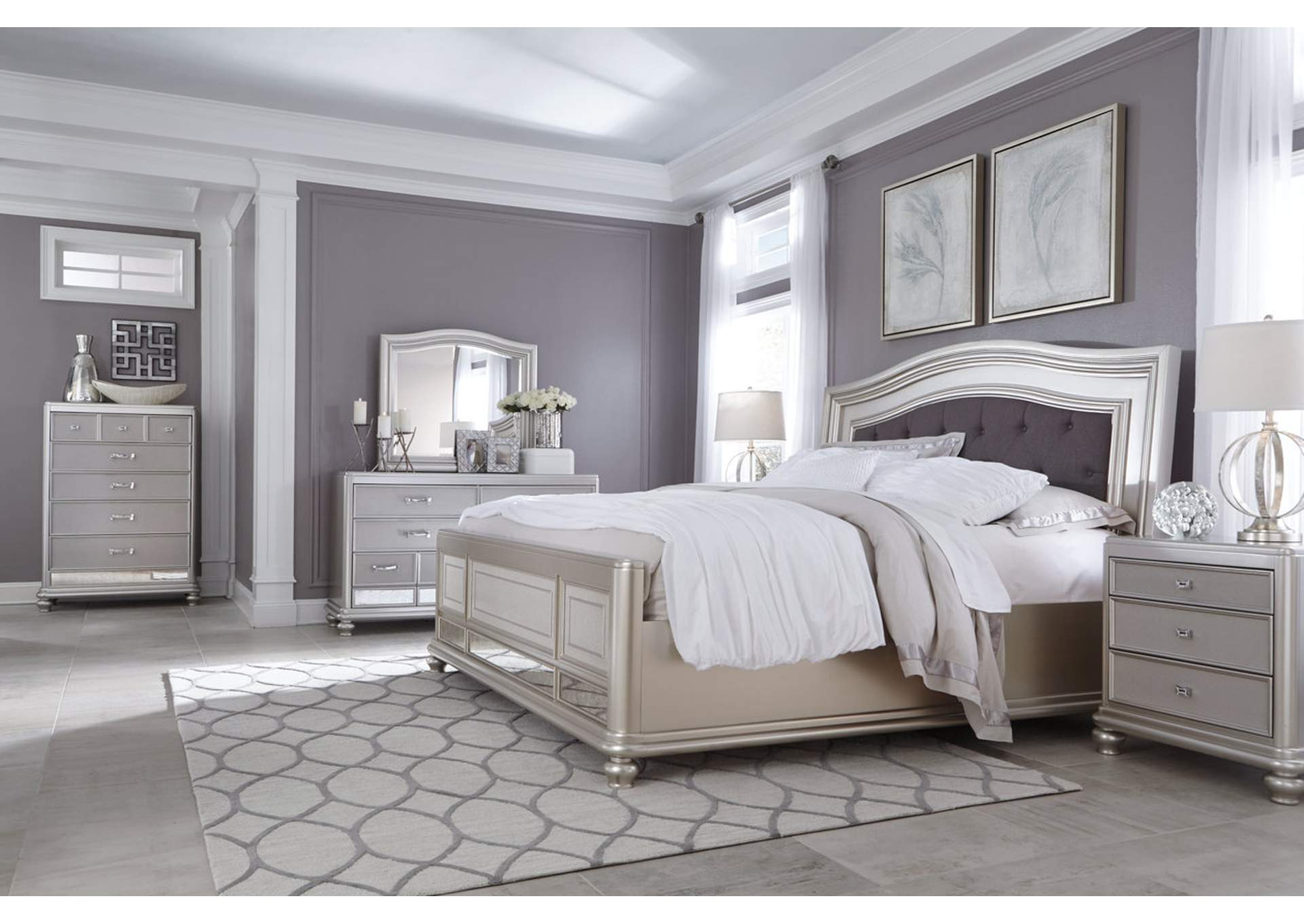 Coralayne Silver Queen Upholstered Bed w/Dresser, Mirror, Drawer Chest & Nightstand,Signature Design by Ashley