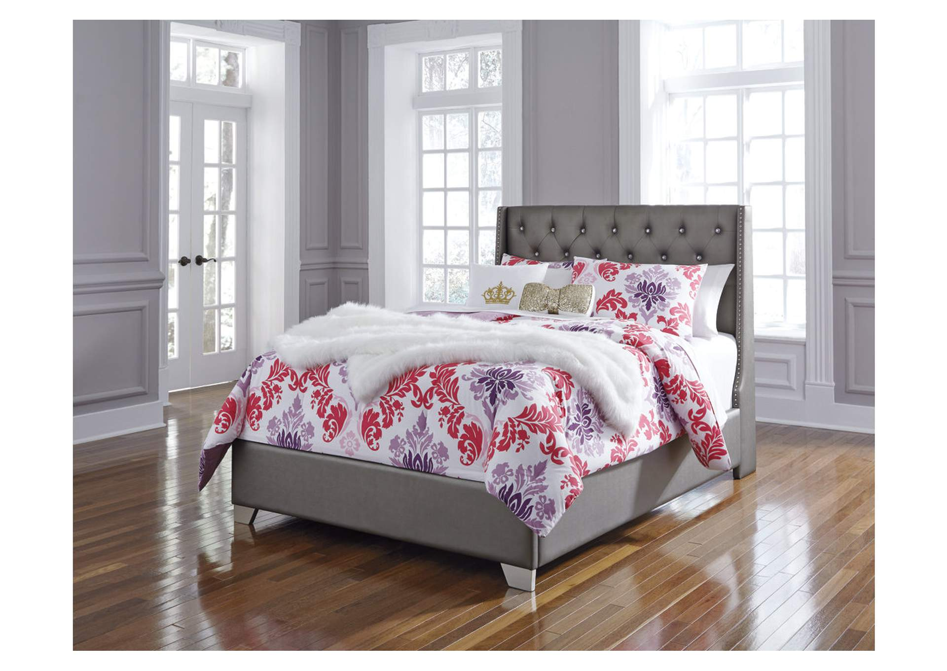Coralayne Silver Full Upholstered Panel Bed,Signature Design By Ashley