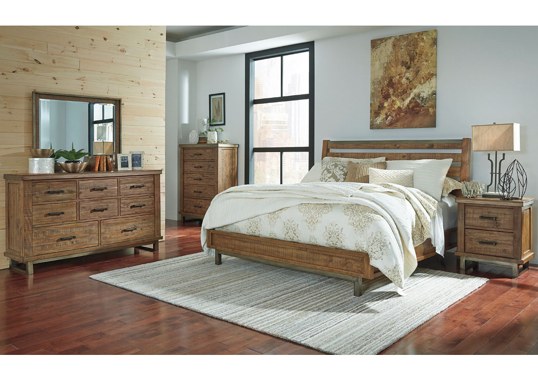 Dondie Warm Brown Queen Sleigh Platform Bed w/Dresser & Mirror,Signature Design By Ashley