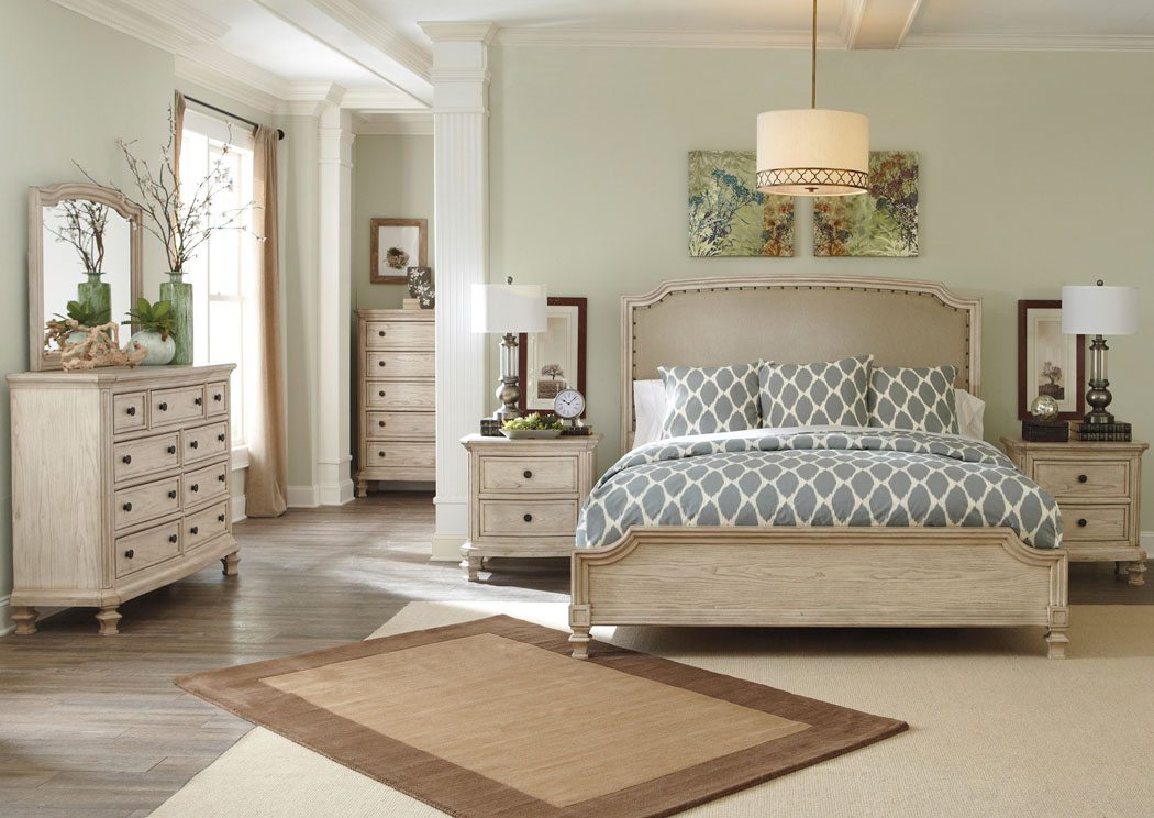 Demarlos California King Upholstered Panel Bed w/Dresser, Mirror & Drawer Chest,Signature Design By Ashley