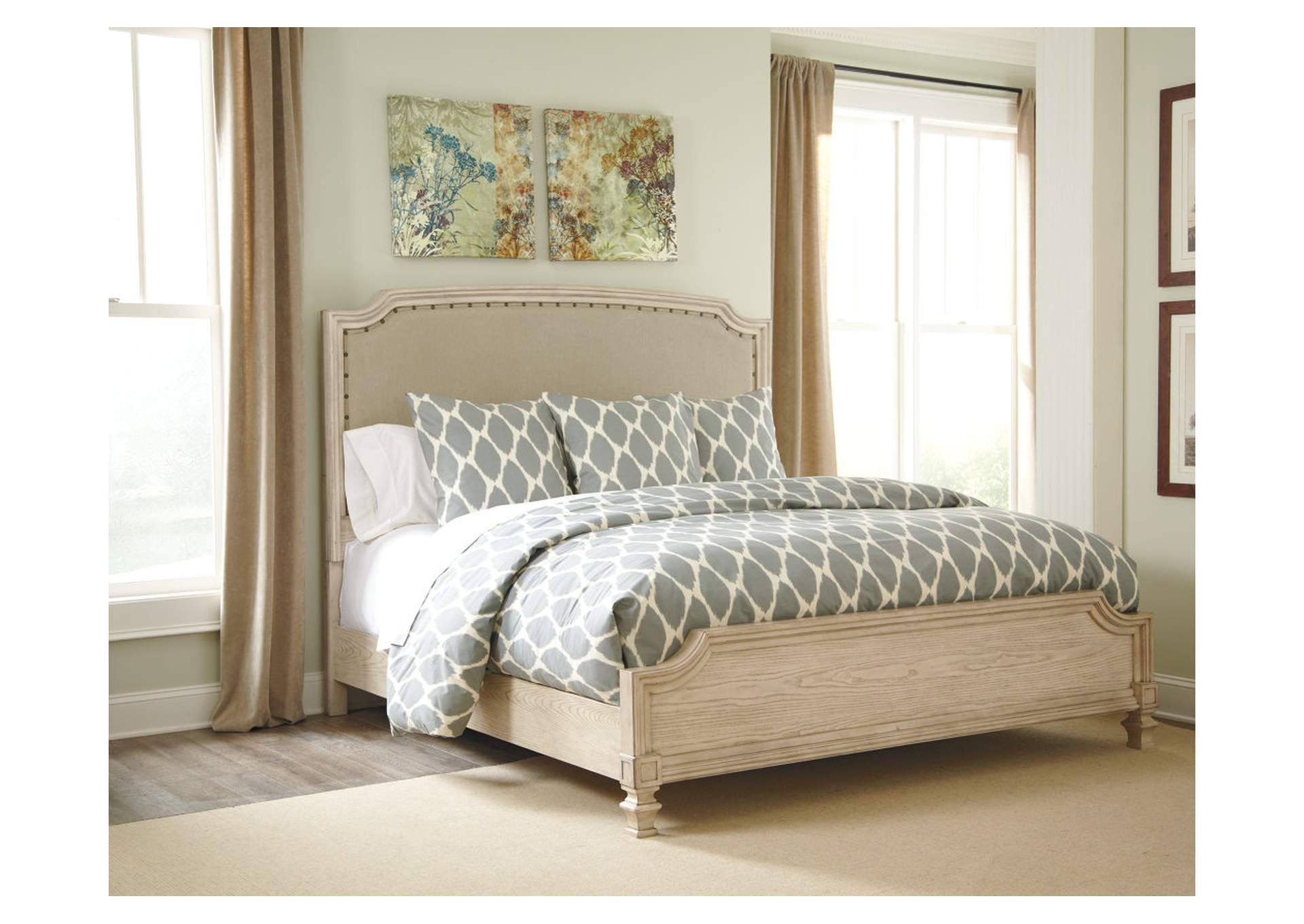 Demarlos King Upholstered Panel Bed,Signature Design By Ashley