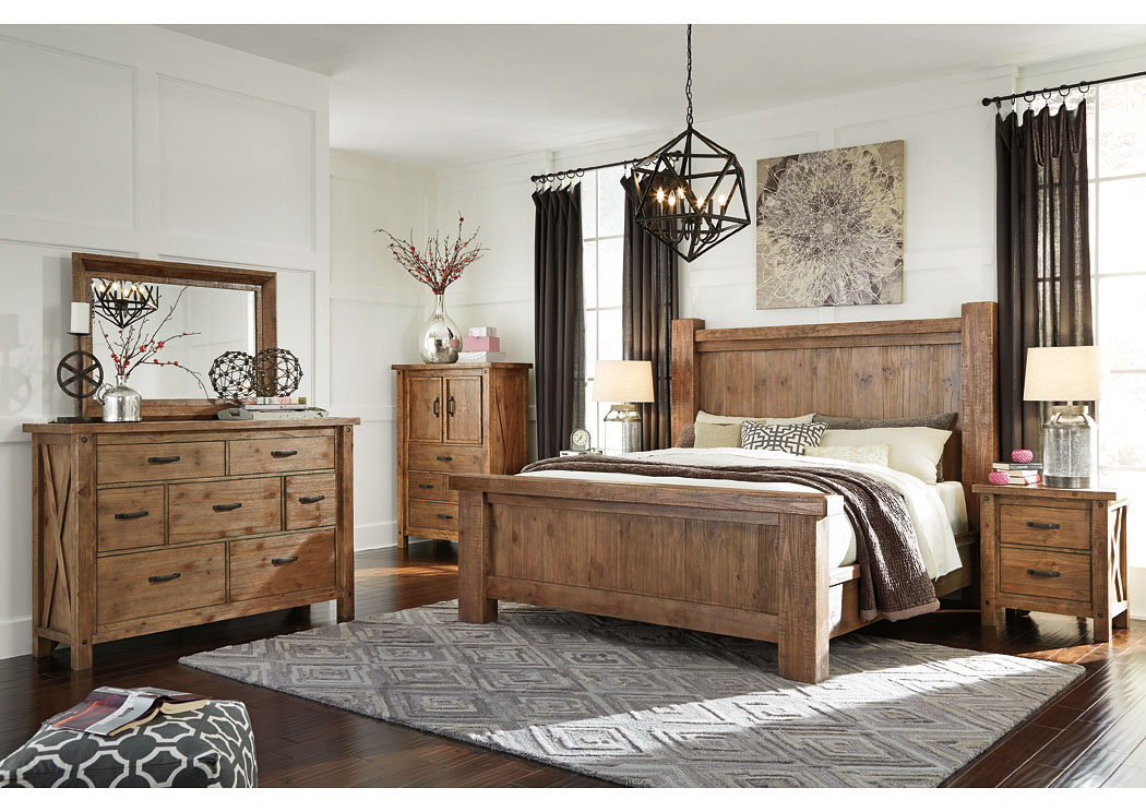 Tamilo California King Poster Bed w/Dresser, Mirror, Door Chest and Nightstand,Signature Design by Ashley