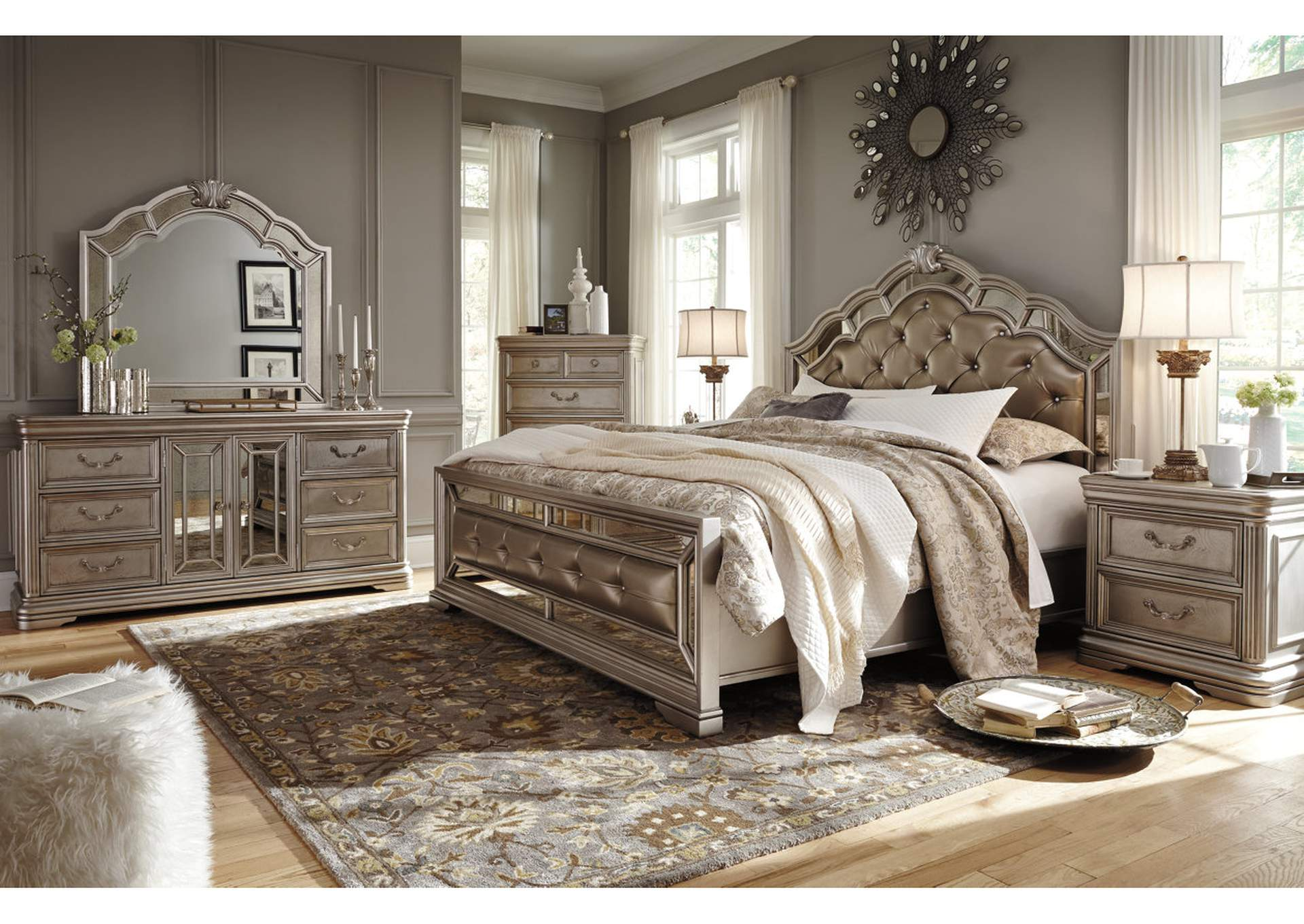 Birlanny Silver Queen Upholstered Bed w/Dresser, Mirror & Drawer Chest,Signature Design By Ashley