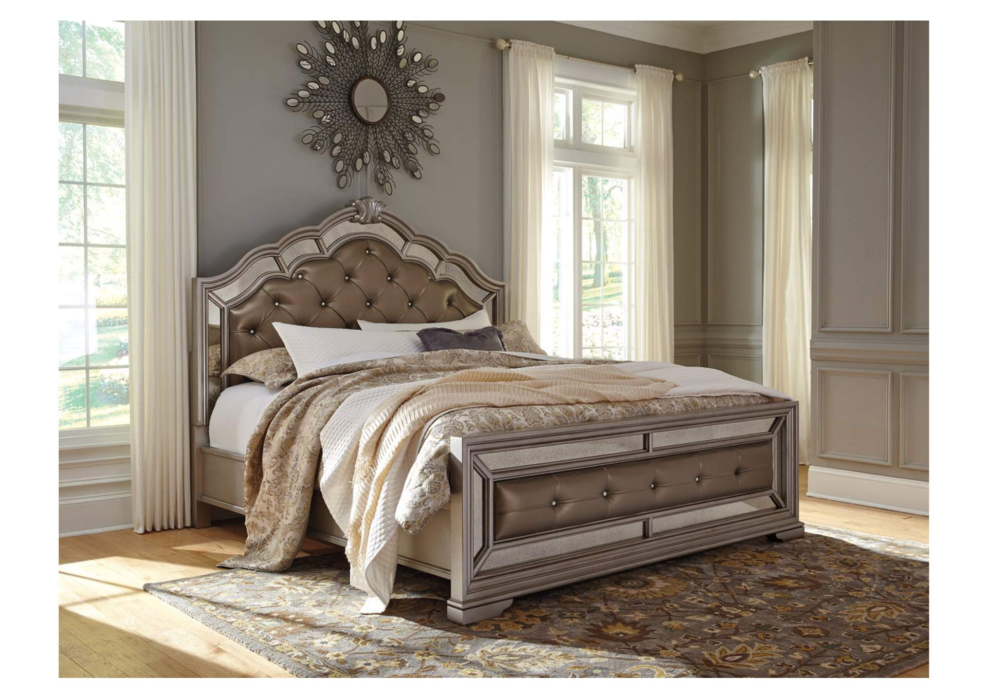 Birlanny Silver King Upholstered Bed,Signature Design By Ashley