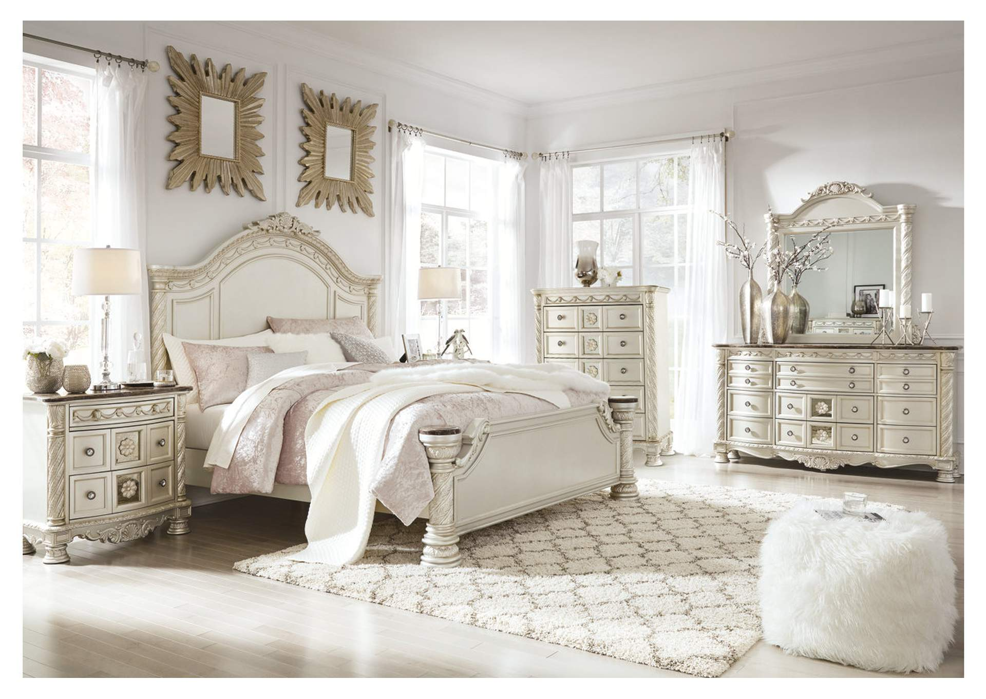 Cassimore Pearl Silver King Panel Bed w/Dresser, Mirror, Drawer Chest & Nightstand,Signature Design By Ashley