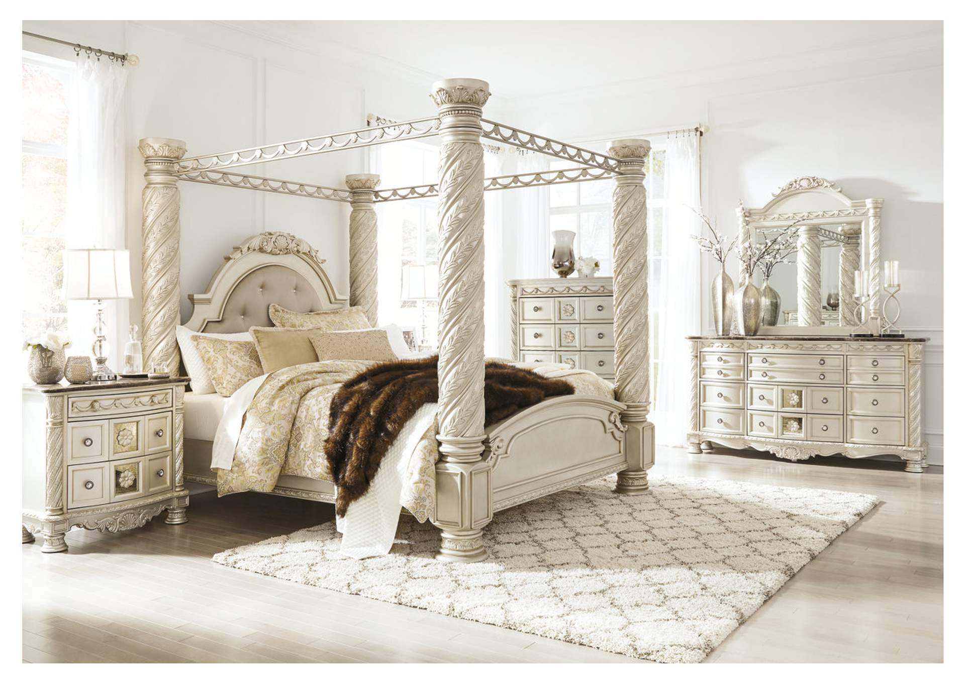 Cassimore Pearl Silver King Upholstered Canopy Bed w/Dresser, Mirror, Drawer Chest & Nightstand,Signature Design By Ashley