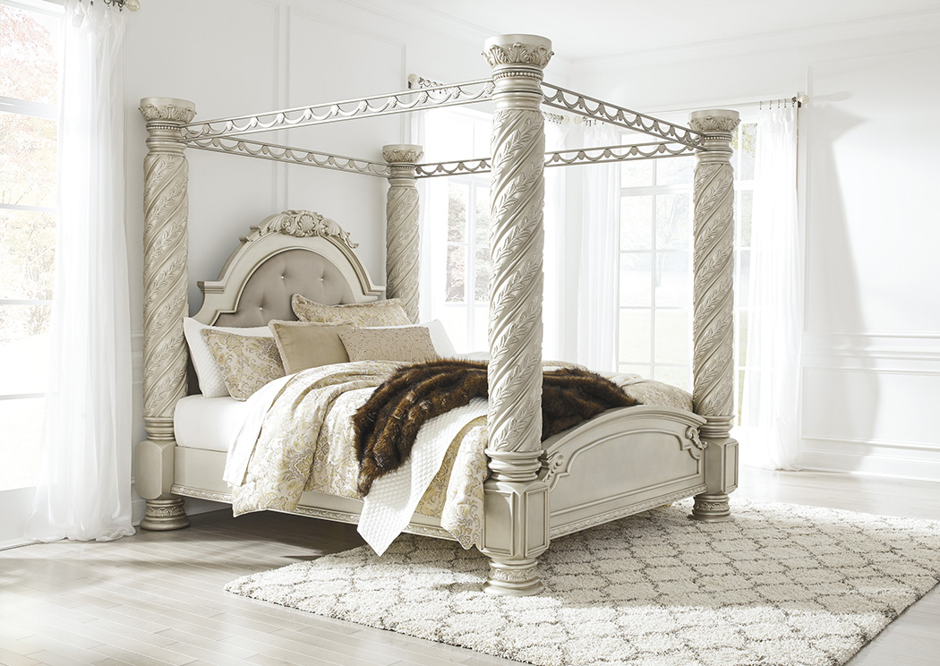 Cassimore Pearl Silver King Upholstered Canopy Bed,Signature Design By Ashley